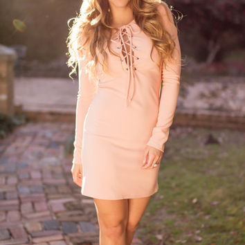Into the Sunset Blush Lace Up Bodycon Dress
