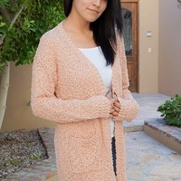 Charm Me Pink Chunky Knit Long Open Cardigan Sweater