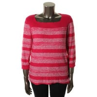 Jones New York Womens Knit Striped Pullover Sweater