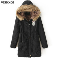 Women Winter Coat Wadded Jacket Medium-Long Plus Size Parka Fur Collar Thick Hooded Femme Snow Wear Clothing Female Coats S237