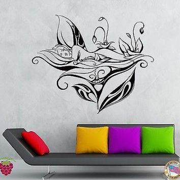Wall Stickers Vinyl Decal Girl Flower Fairy Teen Fairy Decor For Bedroom Unique Gift (z1931)