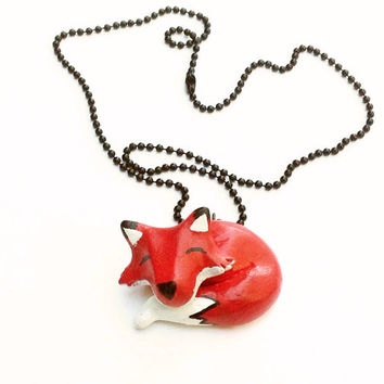 Autumn Fox Necklace, Fall Finds, Animal necklace, woodland creatures, fall gifts, autumn gifts, polymer clay jewelry, clay jewellery