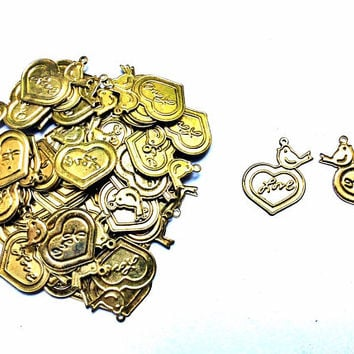 set of 10 pieces Love heart with bird charm, 18mm x 21mm, antique gold stamped metal alloy - C105