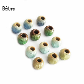 BoYuTe 50Pcs 6MM Ceramic Beads Handmade Materials Diy Beads Porcelain Ceramic Jewelry Beads for Jewelry Making