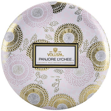 VOLUSPA 3 WICK CANDLE IN DECORATIVE TIN - PANJORE LYCHEE
