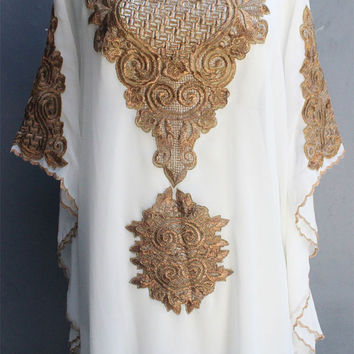 White Caftan Dress Tunic Gold Embroidery Kaftan Wedding Party Summer Dress Batwing Style