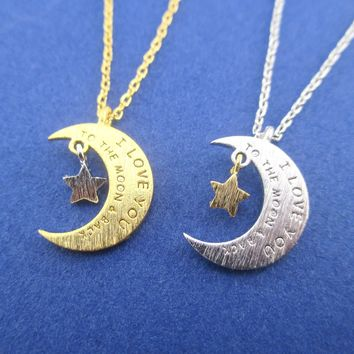 Crescent Moon and Stars Shaped I Love You To the Moon & Back Quote Pendant Necklace