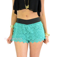 Heat Wave Jade Lace Ruffle Shorts