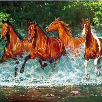 5D Diamond Painting Four Horses Galloping in the Water Kit