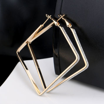 Rhombus Loop Big Circle Hoop Earrings for Women Lady Girls Jewelry Large Big Hoop Earrings SM6