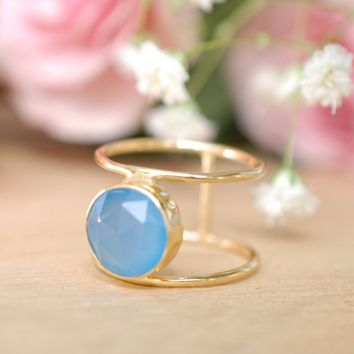 Blue Chalcedony Ring * Gold * Statement * Gemstone * Organic * Natural * Handmade * Designed Band * Boho * Bohemian * Gypsy * Ring*BJR010