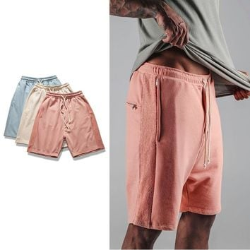 2017 Justin Bieber Shorts Kanye Drop Crotch Drawstring Sweat Shorts Zipper Pocket Mens Hip Hop Harem Short Pants M-XL