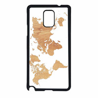 World Map On Wood Texture Print White Samsung Galaxy Note 4 Case