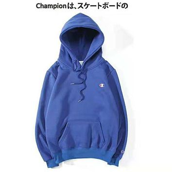 Champion New fashion bust embroidery logo couple hooded long sleeve sweater Blue