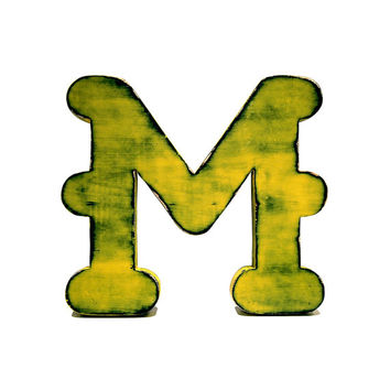 Rustic Wooden Letter M (Pictured In Citrus) Home Decor Wooden Letters Wedding Guest Book Kids Room Nursery Photo Prop Cottage Chic