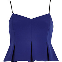 River Island Womens Blue peplum crop cami