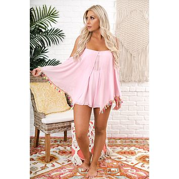 Whale Hello There Fringe Romper (Pink)