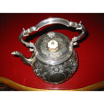 Mappin Brothers London Silver Teapot With Lion Medallions Etched Hallmarks