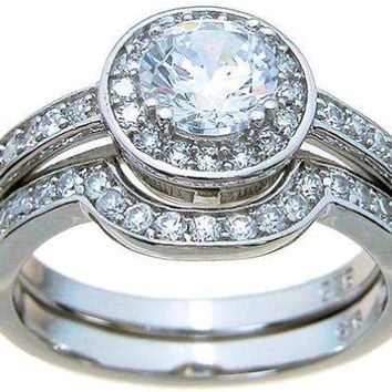 Top Quality 2.5ct Halo Cubic Zirconia Matching Wedding Ring Set