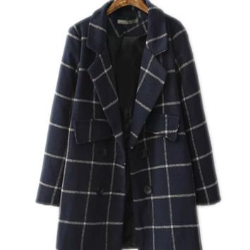 Christina Navy Blue Plaid Boyfriend Coat