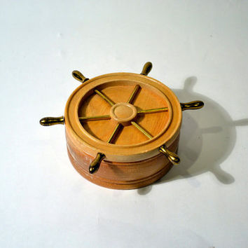 Nautical Ship Wheel Round Wooden Box by BananasDesign on Etsy
