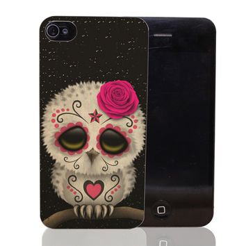 Cute Pink Day Of The Dead Sugar Skull Owl Stars Hard Transparent Clear Case for iPhone 4 4s 5 5s SE 5c 6 6s 7 & Plus