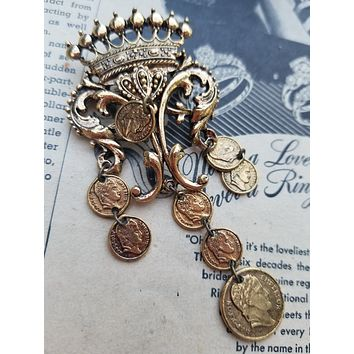 Arthur Pepper Art signed French crown with Napoleon coins vintage brooch