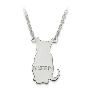 Personalized Cat Silhouette Cutout Name Necklace