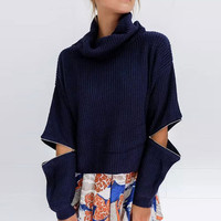 Long Sleeve Zipper Decor Pullover Knitted Sweater