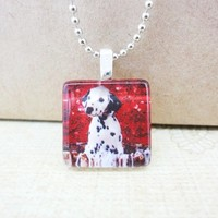 Dalmatian Spotted Dog Glass Tile Pendant 7/8 Inch Square Animals | LittleApples - Jewelry on ArtFire