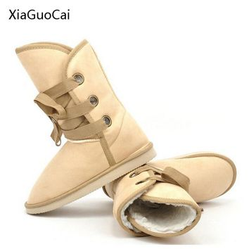 2017 Cross-Strap Winter Fur Women Snow Boots Mid-calf Desert Boots Suede High Quality 2 Way Style Boots for Women X1144 35