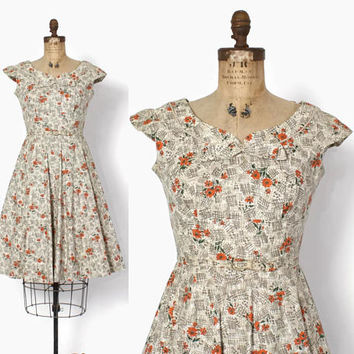 Vintage 50s Sun Dress / 1950s Fall Floral Cotton Sleeveless Full Skirt Day Dress M