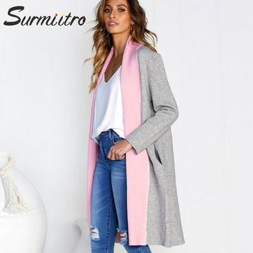 Gogoyouth Knitted Long Cardigan Female 2018 Autumn Winter Sweater Women Patchwork Long Sleeve Coat Tricot Loose Cardigan Femme