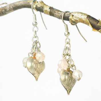 Vintage Heart Earrings, Dangle, Pink Beads, Inexpensive