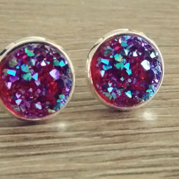 Druzy earrings- Maroon Rainbow drusy silver tone stud druzy earrings