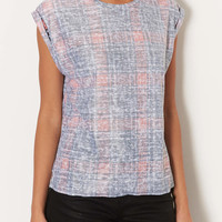 Petite Washed Check Tee