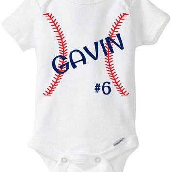 """Baby Boy Baseball Jersey Onesuit """"Customized Stitches"""" bodysuit shirt in Red & Navy Blue - Baby Shower Gift idea - Preemie Size Avail"""