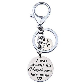 ENSIANTH I Was Always His Angel Now Hes Mine Dad Hand Stamped Keychain with Dad Charm Angel keychain