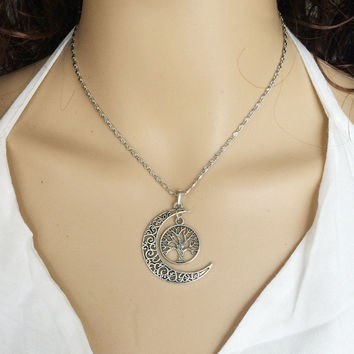 Retro Silver Pendant Necklace Moon & World Tree #IB1385 (Size: 45 cm, Color: Silver) = 1946090500