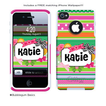 OTTERBOX COMMUTER iPhone 5 5S 5C 4/4S Case Custom Ribbon Stripes with Bows and Buttons Personalized Monogram
