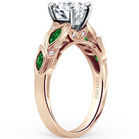 "Kirk Kara ""Dahlia"" Marquise Cut Green Tsavorite Garnet Diamond Engagement Ring"