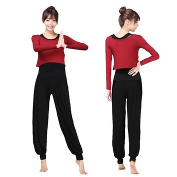 Women Breathable Long Sleeve Yoga Sets Fitness Sports Dance Weight Loss Square Dance Set Bloomers Yoga Suits Workout Clothes