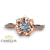 14K Rose Gold Diamond Engagement Ring 0.40ct Natural Diamond Ring Unique Flower Ring