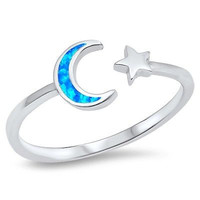 Sterling Silver 925 BLUE CRESCENT MOON AND STAR LAB OPAL DESIGN RINGS 3MM SIZES 3-10