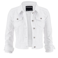 White Denim Jacket With Pockets - White