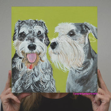 Custom Pet Portrait Painting in Acrylic  pet painting Multiple pet painting Original pet portrait Pop art pet portrait Modern pet painting