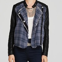 Free People Jacket - Plaid Front Pieced Faux Leather
