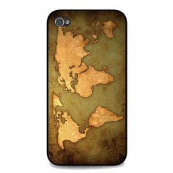 world map Vintage Patern for iphone 4 and 4s case