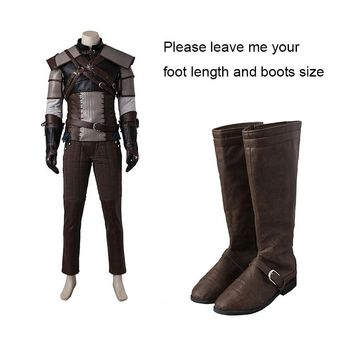 Geralt of Rivia Cosplay Boots The Witcher 3 Wild Hunt Cosplay Shoes Adult Men Game Cosplay Costume Accessories Adult Custom Made