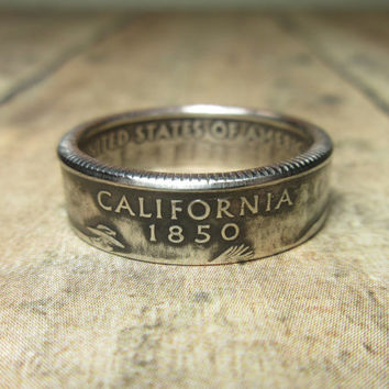 California State Quarter Coin Ring Size 5.5 to 12